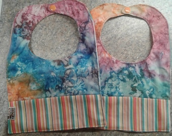 Any 3 months tie dyed with batik months Custom Baby Bib Set