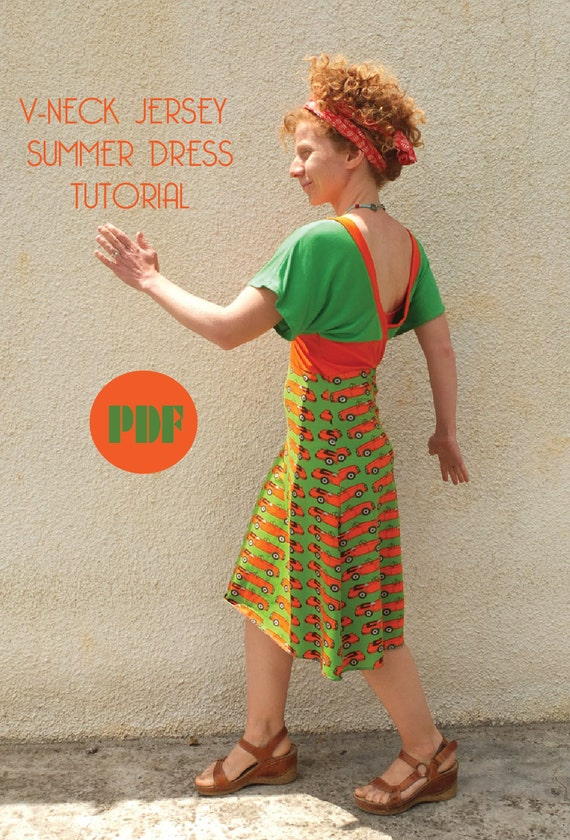 V-neck Jersey Sommerkleid Schnittmuster und Lernprogramm sofort-Download PDF
