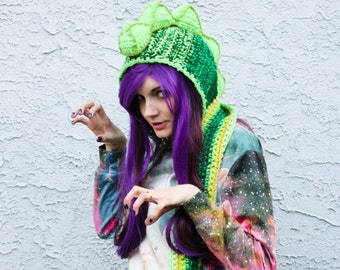 Sparkly Dinosaur Hooded Scarf - Multicolored Green Vegan Crocheted Scoofie w/ Your Choice of Removable Dino Spikes - Ready To Ship