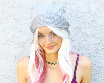 Netted Kitty Ear Beanie w/ Glitter Thread & Birdcage Veil - Crocheted Cat Ear Hat - More Colors Available - Vegan Friendly Acrylic Yarn