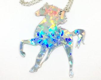 Hologram Jumbo Unicorn Acrylic Necklace - OOAK Prototype, Super Awesome Rainbow Unicorn Holo Burst Statement Necklace