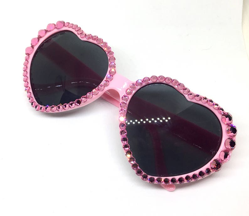 139e80c4836 Bubblegum Pink Heart Shaped Crystal Sunglasses w  Swarovski