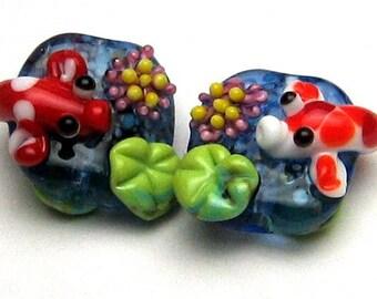 Margo lampwork beads koi pond earrings pair (2)