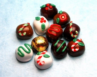 Made to order Margo lampwork beads Christmas Chocolate(11)