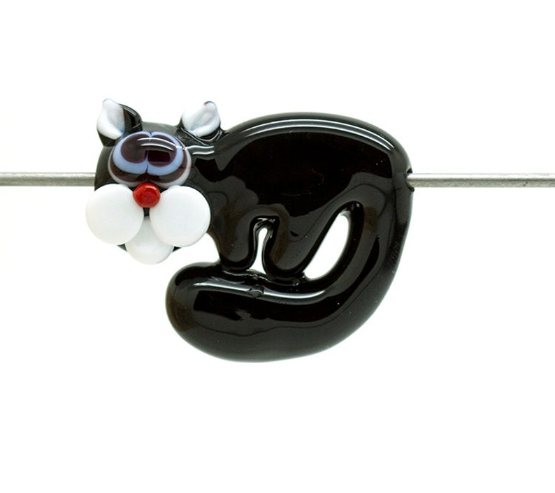Made to order Margo lampwork beads arch cat