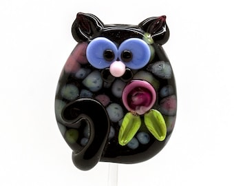 ready to ship Margo lampwork beads cat