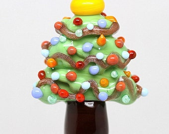 Made to order Margo lampwork beads Christmas tree