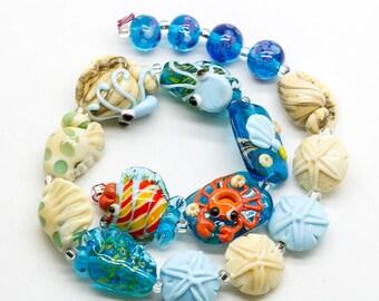 ready to ship Margo lampwork sea beads set (17)