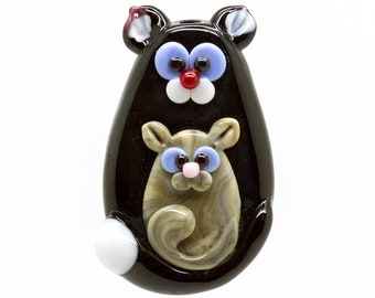 Made to order Margo lampwork beads cat with baby