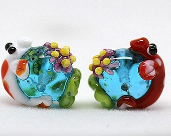 Made to order Margo lampwork beads koi pond earrings pair (2)