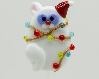 Made to order Margo lampwork beads christmas lights cat