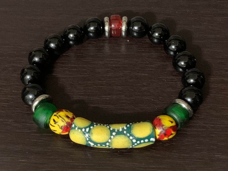 black agate rounds glass Padre beads red Czech rondelles with stainless steel accents Accra Dreams bracelet Krobo beads