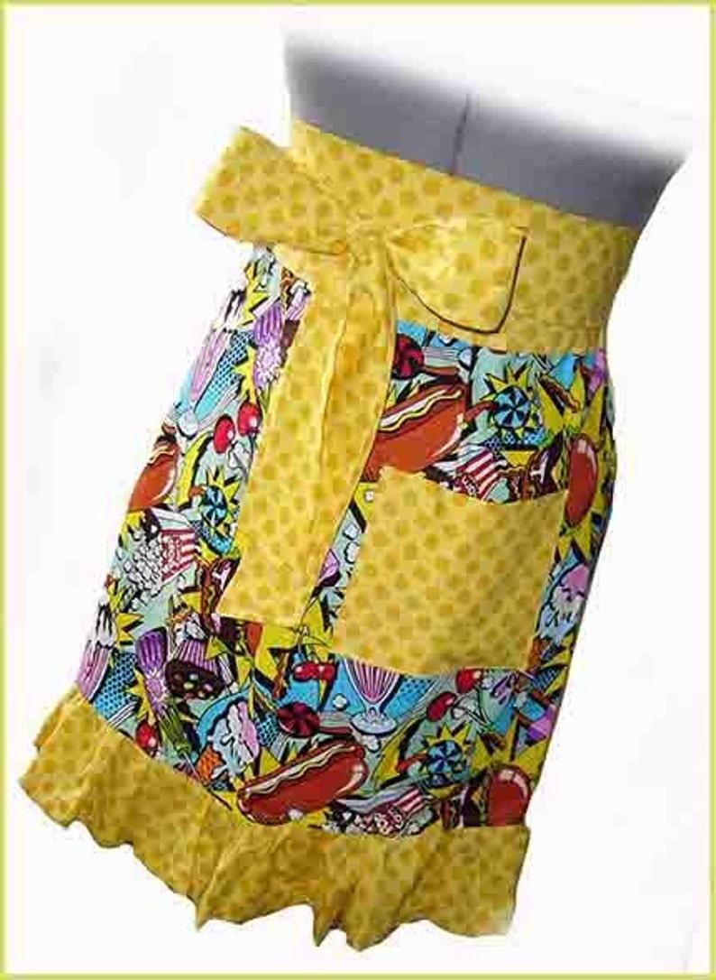 Junk Food Apron Designer Fabric Modern Retro Food Print Cover Up 34 Apron