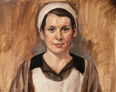 "Downton Abby Maid Help Tea Character Figure Study Original Oil Painting Canvas 9x12"" Barton"