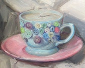 "Original Oil Painting Tea Cup Candle Still Life Canvas 8x8"" Barton"