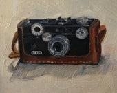 "Argus Brick Vintage Camera Original Oil Painting Still Life #4 Canvas 8x10"" Barton"