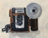"Argus Vintage Camera Original Oil Painting Still Life #7 Canvas 8x10"" Barton"