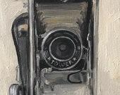 """Original Oil Painting Vintage Camera Still Life #2 Canvas 8x10"""" Barton"""