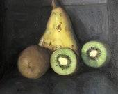 "Original Oil Painting Pear Kiwi Still Life Canvas 8x8"" Barton"