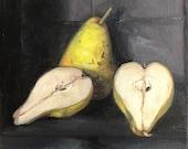 "Original Oil Painting Pears Still Life Canvas 8x8"" Barton"