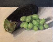 "Original Oil Painting Eggplant Grapes Still Life Canvas 8x8"" Barton"