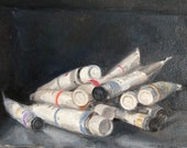 "Original Oil Painting Tubes of Paint Still Life Canvas 8x8"" Barton"