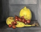 "Original Oil Painting Lemon Banana Grapes Still Life Canvas 8x8"" Barton"
