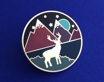 Stag & Mountains Enamel Pin Badge - Purple Lapel Pin, Starry Sky, Mountain Scene, Scotland Pin