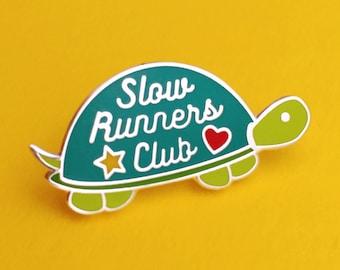 Slow Runners Club Enamel Pin - Cute Tortoise Enamel Pin