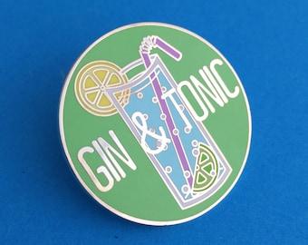 Gin and Tonic Enamel Pin Badge - Gin Badge - Lapel Pin, Tie Pin