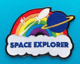 Space Explorer Rainbow Rocket Iron On Embroidered Patch