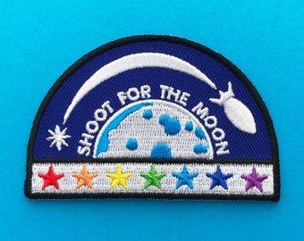 Shoot For The Moon Rainbow Rocket Iron On Embroidered Patch