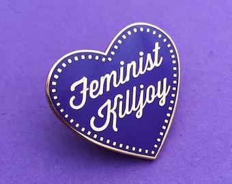 Feminist Killjoy Enamel Pin Badge - Purple and Rose Gold Heart Lapel Pin
