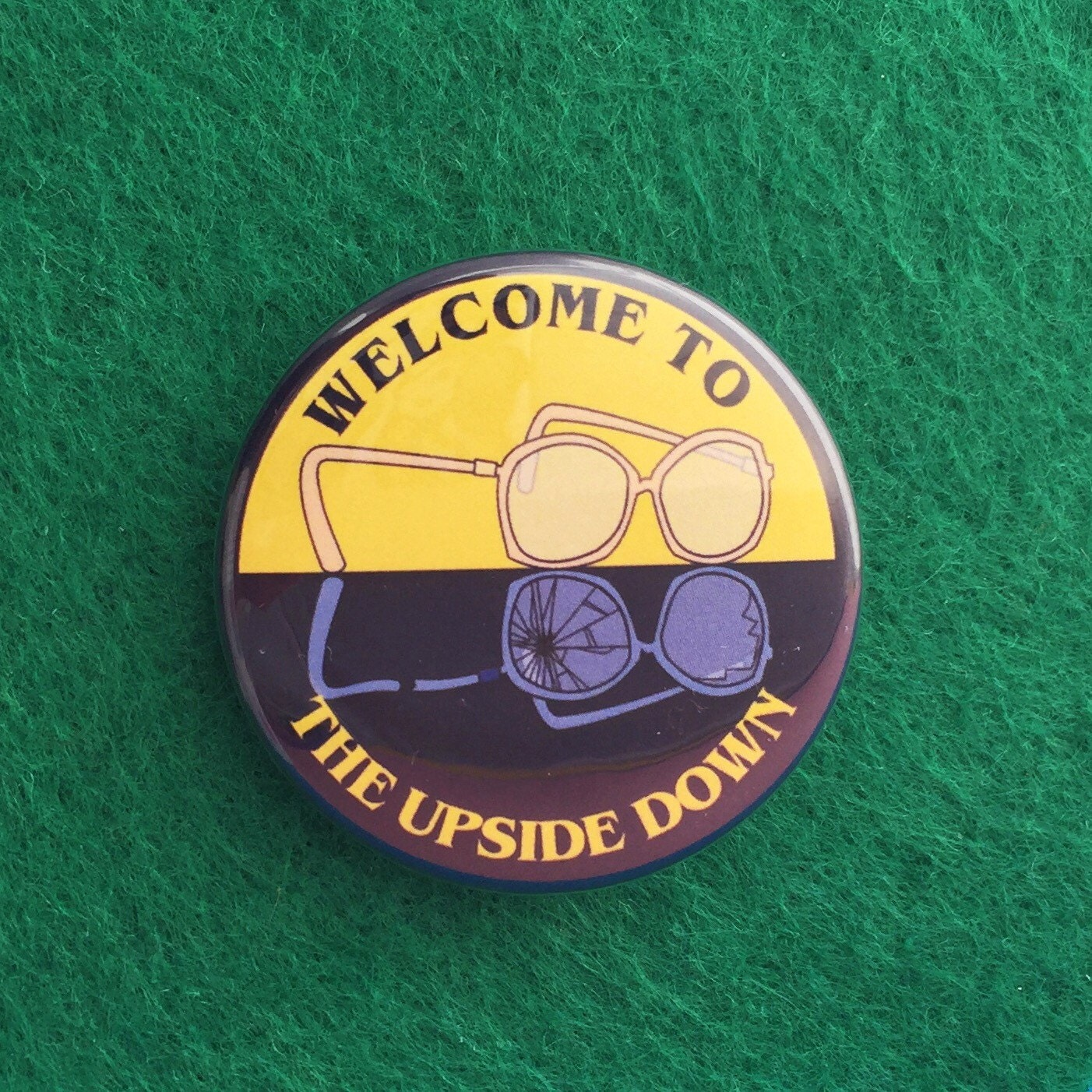 Welcome To The Upside Down Button Badge Barb Etsy