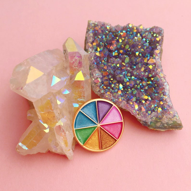 Pearlised Colour Wheel Soft Enamel Pin with Rose Gold Plating
