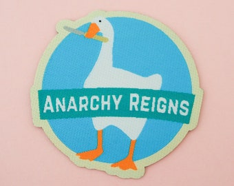 Anarchy Reigns Iron On Patch - Untitled Goose Game Patch - Honk