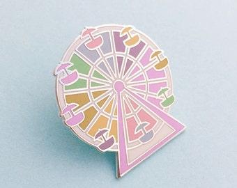 Pastel Rainbow Ferris Wheel Enamel Pin Badge, Lapel Pin, Tie Pin