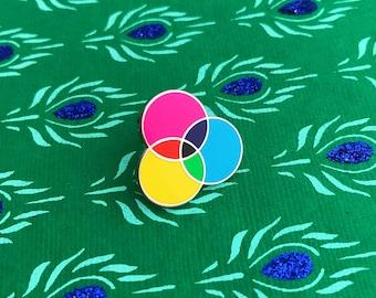 CMYK Enamel Pin Badge, Lapel Pin, Tie Pin