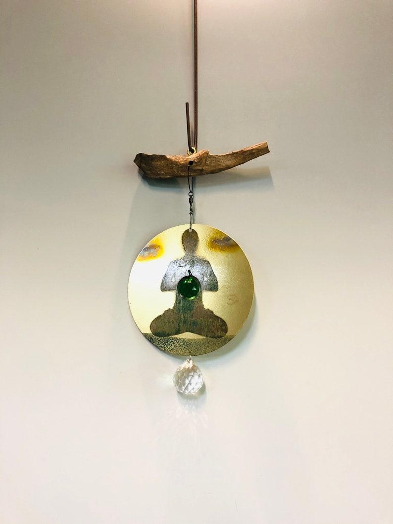 Wind Spinner Oxidized image on Brass sheet Meditator