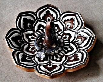 Lotus Ceramic Ring Holder Bowl Dark Brown  gold edged