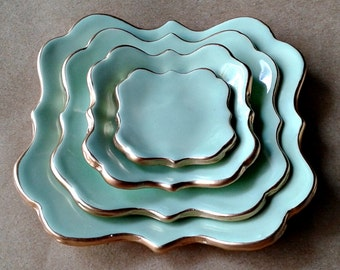 Ceramic Nesting Trinket Dishes jewelry storage soap dish tinket bowls Mint green edged in gold set of four