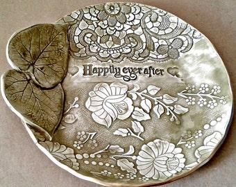 Ceramic Wedding Bowl Happily Ever After Wedding Gift Engagement  Sage greenGift