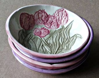 FOUR CeramicTulip Prep Bowls Serving bowls Ice cream bowls trinket bowls