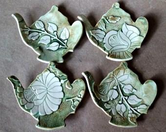 Four Ceramic Damask Teapot Tea bag Holders  spoon rest Moss Green teabag holder