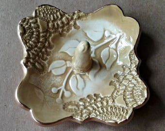 Ceramic Ring Holder Mustard Yellow edged in gold lace with vine