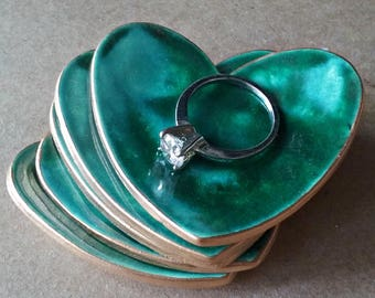 FIVE  Ceramic Heart ring bowls  ring dish Itty bitty Malachite Green edged in gold Baby shower bridal shower