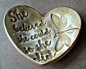 Ceramic Heart Ring Dish  She Believed she Could so She Did gold edged ring dish motivational inspirational
