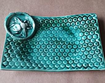 Ceramic Soap Dish Sponge Holder Trinket Dish Honey Bee malachite green