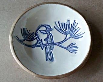 Ceramic Ring Bowl Ring dish ring holder ctrinket bowl cobalt blue Bird Gold edged