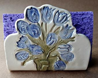 Ceramic Blue Tulip Sponge Holder recipe card holder Kitchen Decor    Wholesale  available